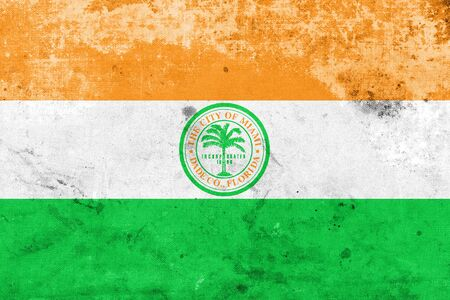 miami florida: Flag of Miami, Florida, with a vintage and old look Stock Photo