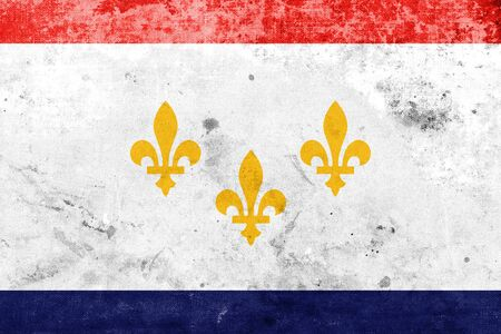 new orleans: Flag of New Orleans, Louisiana, with a vintage and old look