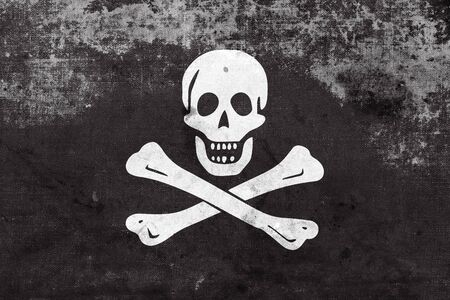jolly roger: The traditional Jolly Roger of piracy Flag, with a vintage and old look