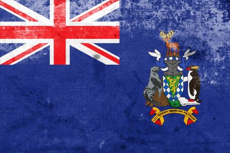 south georgia: Flag of South Georgia and the South Sandwich Islands, with a vintage and old look