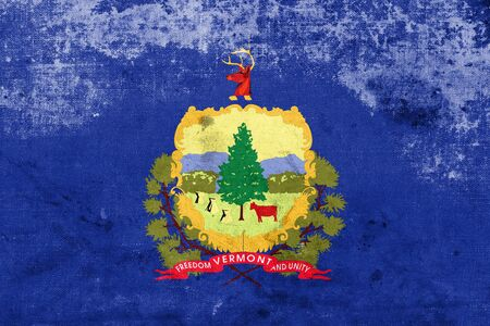 polity: Flag of Vermont State, with a vintage and old look