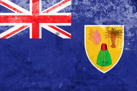 land mark: Flag of Turks and Caicos Islands, with a vintage and old look