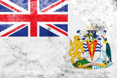 old flag: Flag of the British Antarctic Territory, with a vintage and old look