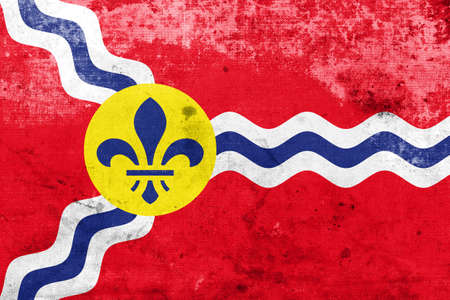st louis: Flag of St. Louis, Missouri, with a vintage and old look