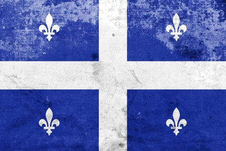 quebec: Flag of Quebec, with a vintage and old look Stock Photo
