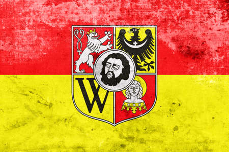 wroclaw: Flag of Wroclaw with Coat of Arms, with a vintage and old look