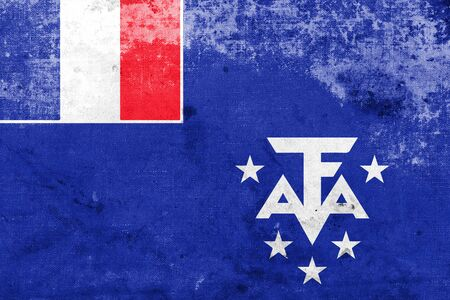 antarctic: Flag of the French Southern and Antarctic Lands, with a vintage and old look Stock Photo
