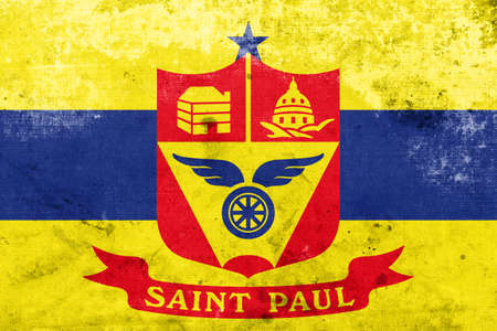 paul: Flag of Saint Paul, Minnesota, with a vintage and old look