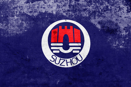 far east: Flag of Suzhou, China, with a vintage and old look
