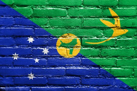polity: Flag of Christmas Island, painted on brick wall
