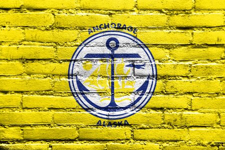 anchorage: Flag of Anchorage, Alaska, painted on brick wall