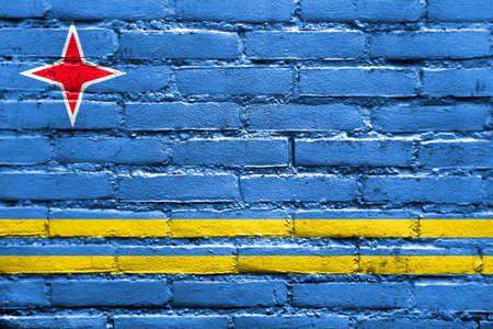 carribean: Flag of Aruba, painted on brick wall