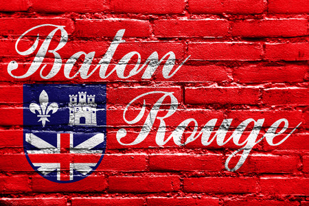 baton rouge: Flag of Baton Rouge, Louisiana, painted on brick wall