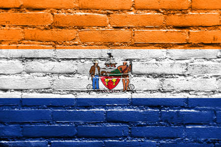 old new york: Flag of Albany, New York, painted on brick wall