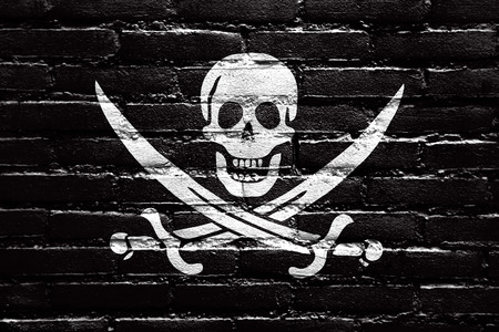 calico: Calico Jack Pirate Flag, painted on brick wall