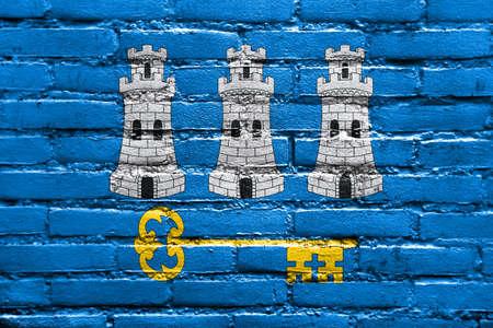 havana: Flag of Havana, painted on brick wall Stock Photo