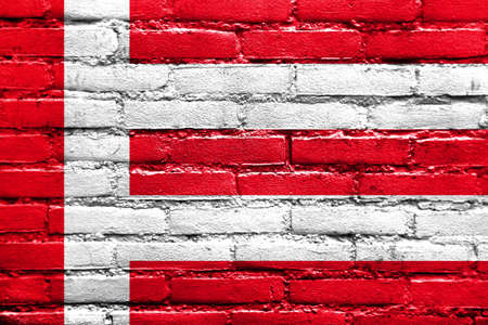 eindhoven: Flag of Eindhoven, painted on brick wall Stock Photo