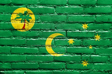 polity: Flag of Cocos Islands, painted on brick wall