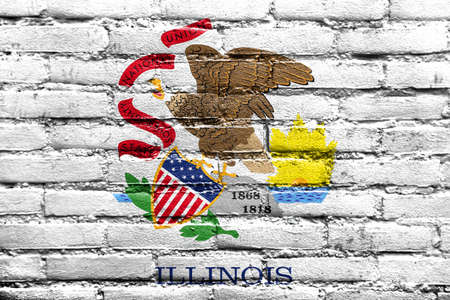polity: Flag of Illinois State, painted on brick wall Stock Photo
