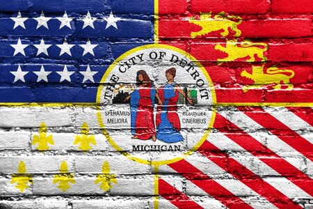 detroit: Flag of Detroit, Michigan, painted on brick wall Stock Photo