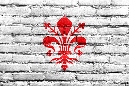 florence: Flag of Florence, painted on brick wall