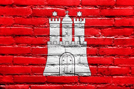 hamburg: Flag of Free and Hanseatic City of Hamburg, painted on brick wall