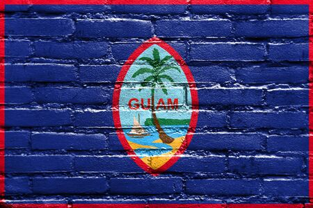 unincorporated: Flag of Guam, painted on brick wall
