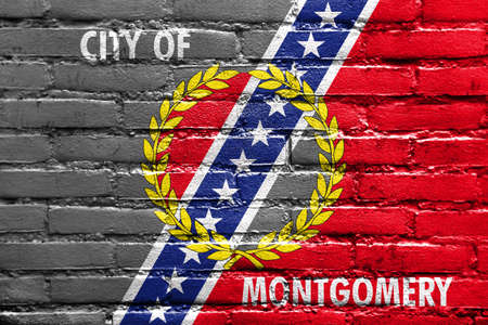 montgomery: Flag of Montgomery, Alabama, painted on brick wall Stock Photo