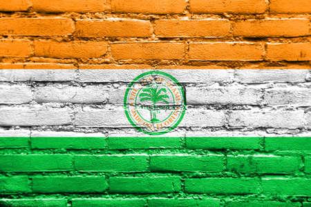 miami florida: Flag of Miami, Florida, painted on brick wall