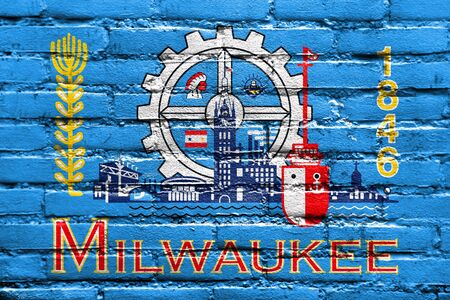 milwaukee: Flag of Milwaukee, Wisconsin, painted on brick wall