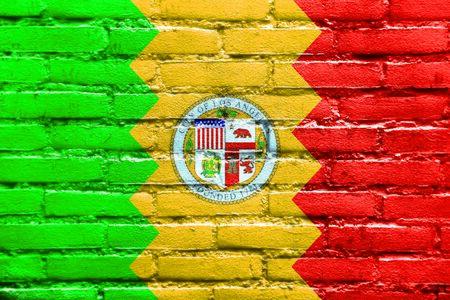 los angeles: Flag of Los Angeles, California, painted on brick wall