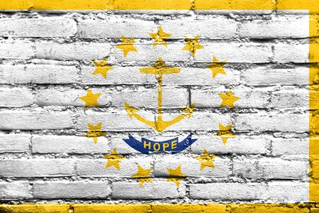 new england: Flag of Rhode Island, painted on brick wall