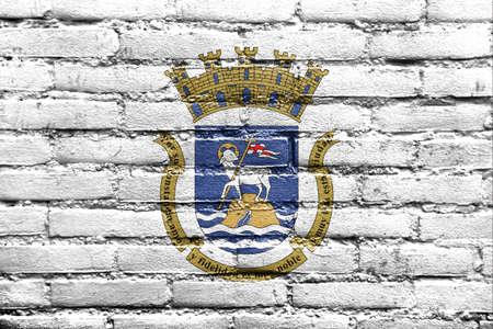 bandera de puerto rico: Bandera de San Juan, Puerto Rico, pintado en la pared de ladrillo