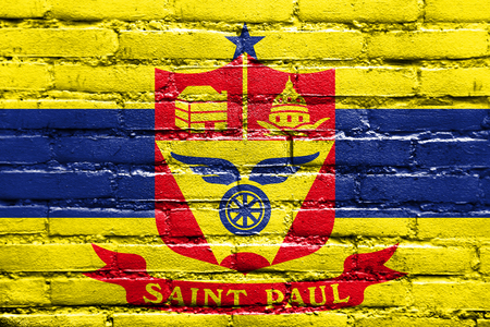 paul: Flag of Saint Paul, Minnesota, painted on brick wall