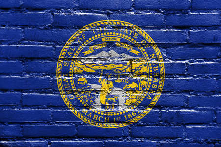 polity: Flag of Nebraska State, painted on brick wall
