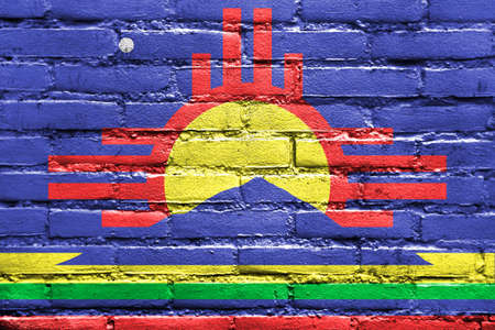 roswell: Flag of Roswell, New Mexico, painted on brick wall Stock Photo