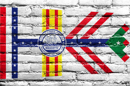 education policy: Flag of Tampa, Florida, painted on brick wall