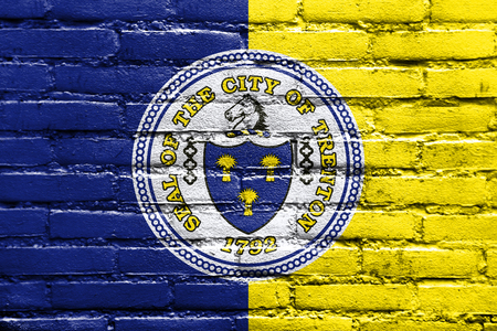 new jersey: Flag of Trenton, New Jersey, painted on brick wall