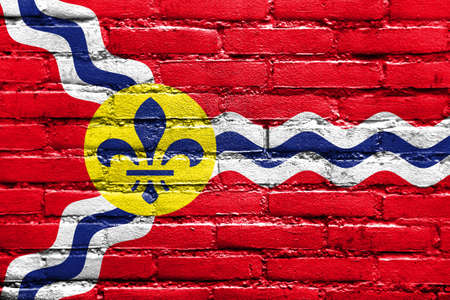 louis: Flag of St. Louis, Missouri, painted on brick wall