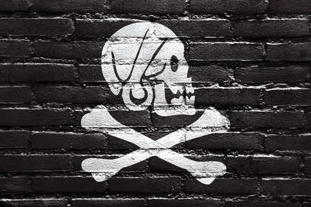 every: Henry Every Pirate Flag, painted on brick wall