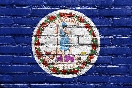 commonwealth: Flag of the Commonwealth of Virginia, painted on brick wall