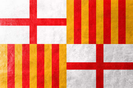 catalonia: Flag of Barcelona, painted on leather texture