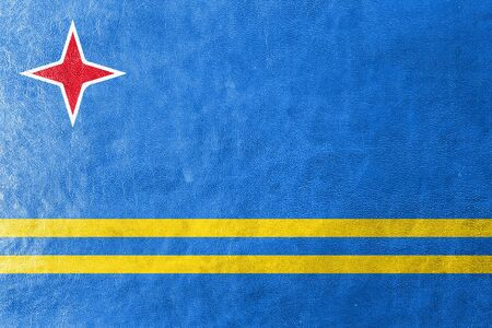 aruba: Flag of Aruba, painted on leather texture