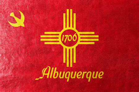 albuquerque: Flag of Albuquerque, New Mexico, painted on leather texture