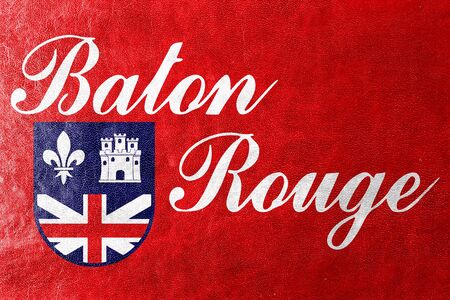 baton rouge: Flag of Baton Rouge, Louisiana, painted on leather texture Stock Photo