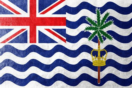 indian ocean: Flag of British Indian Ocean Territory, painted on leather texture