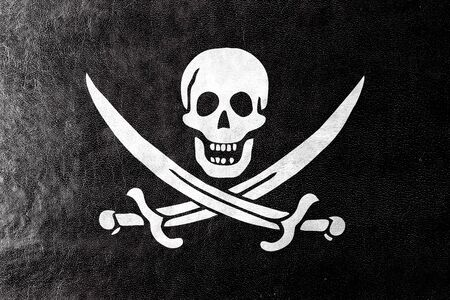 calico: Calico Jack Pirate Flag, painted on leather texture Stock Photo