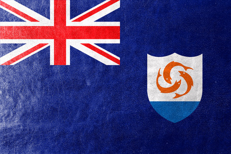 anguilla: Flag of Anguilla, painted on leather texture