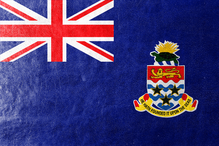 cayman: Flag of Cayman Islands, painted on leather texture Stock Photo