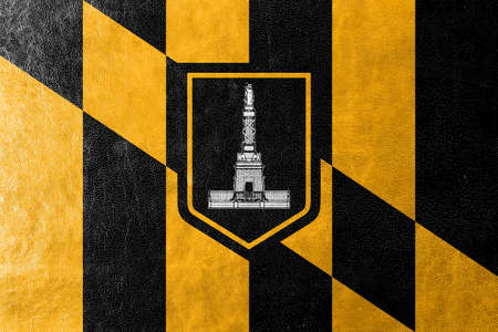 baltimore: Flag of Baltimore, Maryland, painted on leather texture